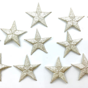 "Silver Metallic 1-1/4"" Embroidered Star Applique"