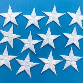"White 1-1/4"" Embroidered Star Applique"