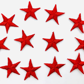"Red 7/8"" Star Iron-on Embroidered Applique"