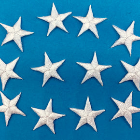 "White 7/8"" Star Iron-on Embroidered Applique"