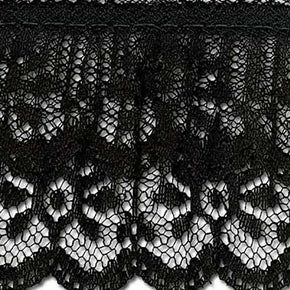 BLACK 2 INCH TWO TIER RASCHEL LACE