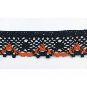 Trimplace 1 - 1/4 Inch Black and Orange Cluny Lace