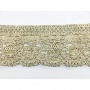 "Trimplace Natural 3 - 1/2 Inch Vintage Cluny Lace with 1/4"" Ribbon"