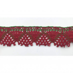 Trimplace 1 - 1/2 Inch Red and Green Cluny Lace