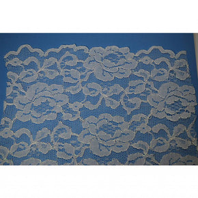 "TRIMPLACE 52"" WIDE WHITE LACE GALLOON with IRIDESCENT CORDING-Sold By the YARD"