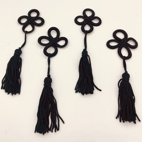"Trimplace 1-1/2"" Black Frog Closure with Chainette Tassel- 6 PCS"