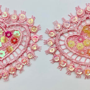 "Pink Heart Venice Lace 3-1/4"" Wide X 3-1/4"" High Applique with Cupped Sequins & Beads - 2 Pieces"