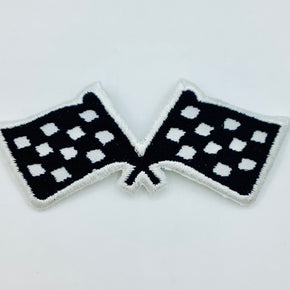 "Black & White Racing Flag Applique (3"" Wide X 1-1/4"" High) - 6 Pieces"