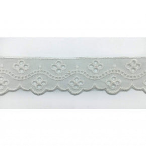 Trimplace White 1 1/8 Inch Eyelet Edge with Faggotting