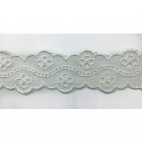 Trimplace White 1 1/8 Inch Eyelet Galloon with Faggotting