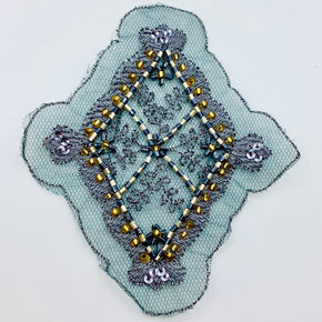 "Embroidered Gray (4"" X 4-1/2"") Applique with Silver/Gold/Black Beads - 2 Pieces"