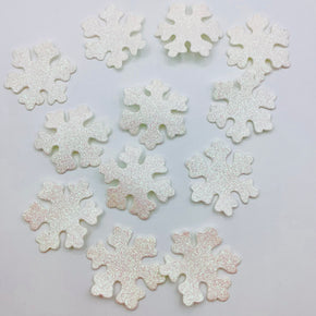 White Iris Glitter Snowflake Heat Seal Applique