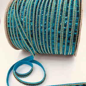 "Trimplace 1/2"" Turquoise with Gold Border & Blue Mini Sequin"