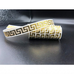 "White/Gold Woven 7/16"" Greek Key Ribbon-15 YARDS"