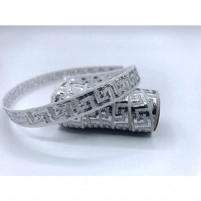 White/Silver 7/16 inch Woven Greek Key Ribbon-15 YARDS