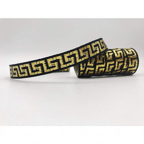 GOLD/BLACK 7/16 INCH WOVEN GREEK KEY
