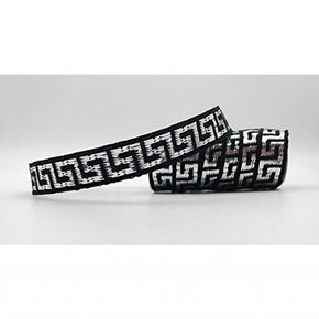 "Black/Silver Woven Greek Key 7/16"" Dobby Ribbon"
