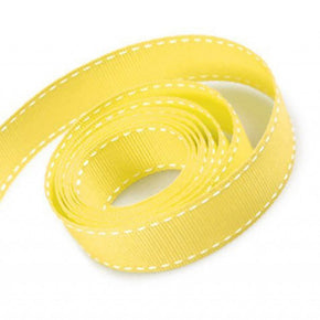 5/8 Inch Yellow Grosgrain Ribbon with White Stitching