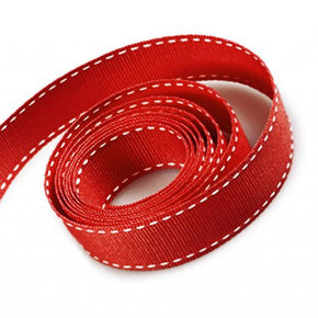 5/8 Inch Red Grosgrain Ribbon with White Stitching