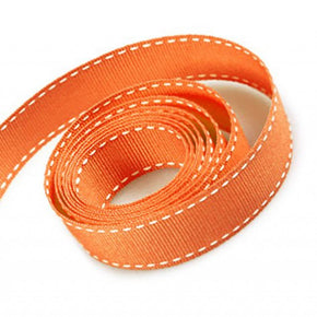 5/8 Inch Orange Grosgrain Ribbon with White Stitching