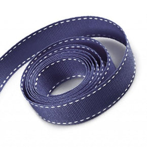 5/8 Inch Navy Grosgrain Ribbon with White Stitching