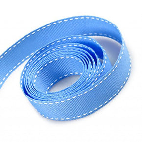5/8 Inch Capri Blue Grosgrain Ribbon with White Stitching