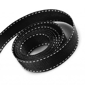 5/8 Inch Black Grosgrain Ribbon with White Stitching