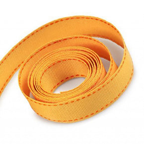 5/8 Inch Yellow Gold Grosgrain Ribbon with Orange Stitching