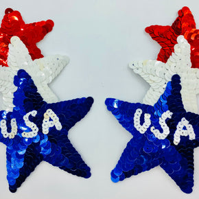 "Red/White/Blue ""USA"" Triple Star (5"" High X 3-1/4"" Wide)"