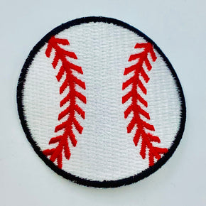 "White/Red/Black 2-1/8"" Heat Seal BASEBALL Applique - 6 Pieces"