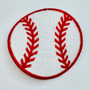 "White/Red 2-1/8"" Heat Seal BASEBALL Applique - 6 Pieces"