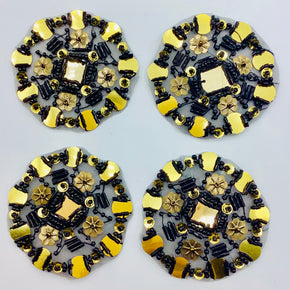 "Black/Gold 2-1/2"" Round Sequins & Beads Applique - 4 Pieces"