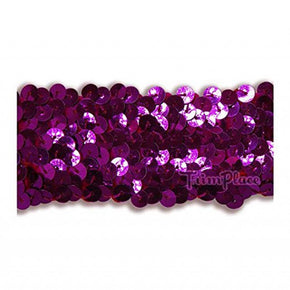 FUCHSIA 1-1/2 INCH STRETCH SEQUIN (4 ROW)