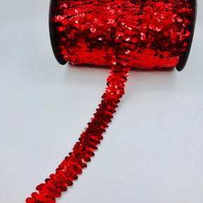 "Trimplace Red (2 Row) 3/4"" Zig Zag Stretch Sequin"