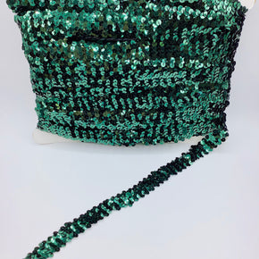"Forest Green (2 Row) 3/4"" Zig Zag Stretch Sequin"