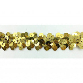 "Trimplace 3/4"" 2 Row Gold Zig Zag Stretch Sequin"