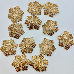 Gold Glitter Snowflake Heat Seal Applique