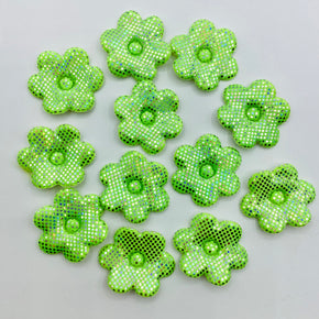 Lime Flower Applique with Silver Dots