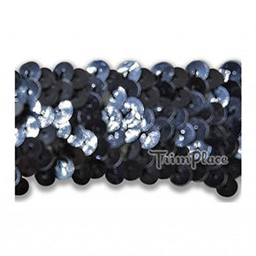 GUNMETAL 1-1/4 INCH STRETCH SEQUIN (3 ROW)