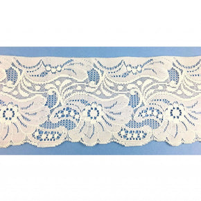 Trimplace 4 Inch White Floral Flat Lace