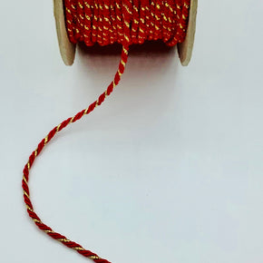 "Red/Gold 1/8"" Metallic Twist Cord"