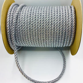 "Silver Metallic 3/8"" Twist Cord"