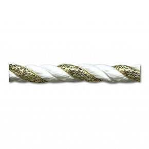 "WHITE/GOLD 6MM (1/4"") RAYON TWIST CORD"