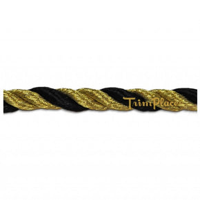 "BLACK/GOLD 6MM (1/4"") RAYON TWIST CORD"