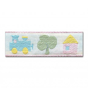 PINK 3/4 INCH TRAIN, TREE, HOUSE JACQUARD