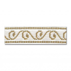 WHITE/GOLD 5/8 INCH JACQUARD