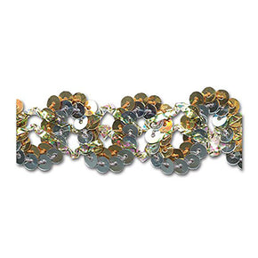 GOLD / SILVER 7/8 INCH SEQUIN SCROLL