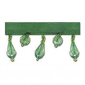 GREEN 1-1/4 INCH BEADED FRINGE