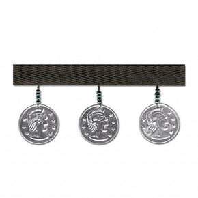 SILVER 1-3/8 INCH TWILL WITH COIN FRINGE