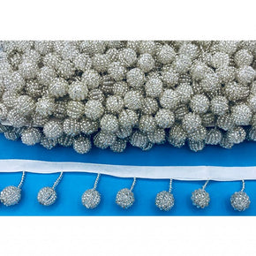 "Trimplace White 1-1/4"" Beaded Ball Fringe"